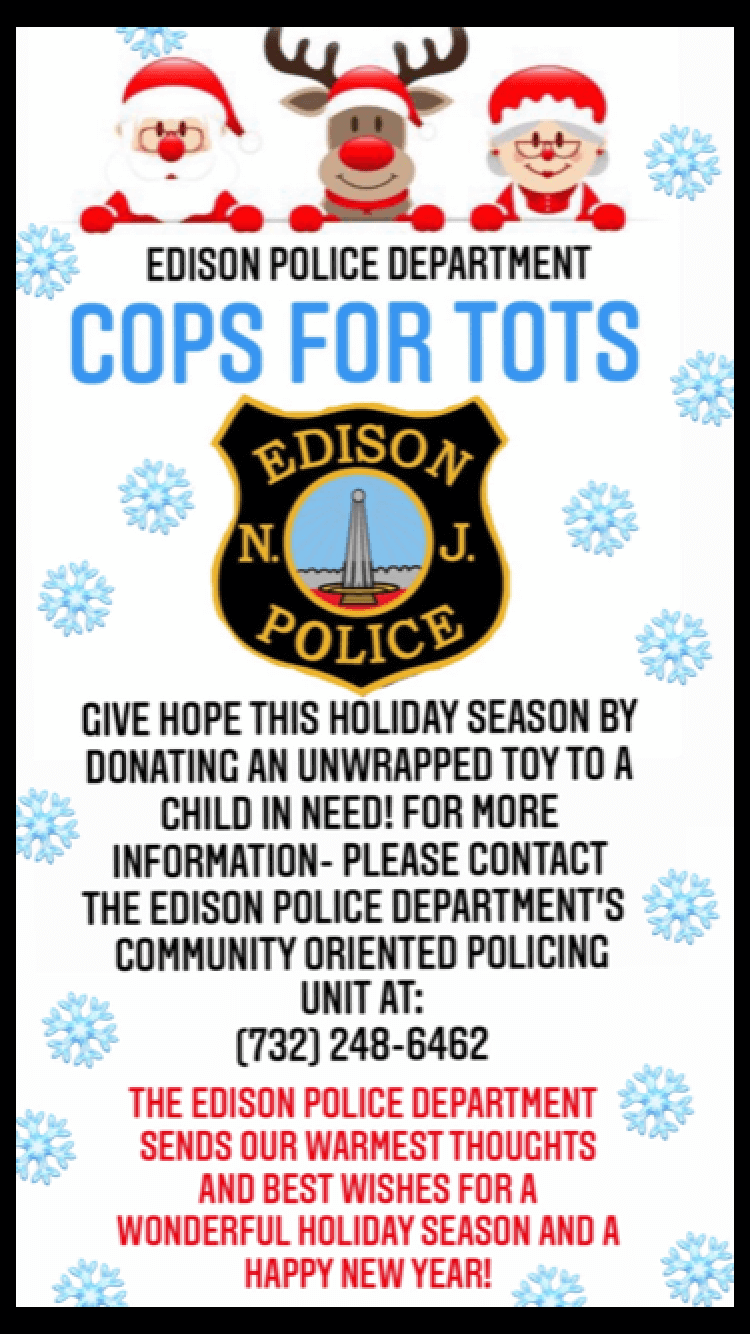 Flyer for toy donations brought to you by Edison Police Department